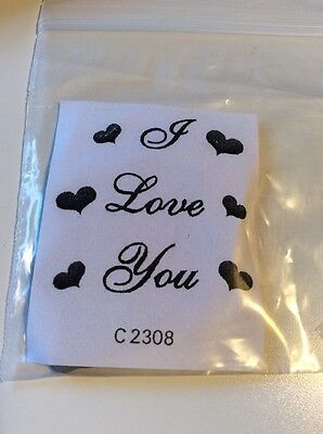I Love You words phrase sentiment unmounted rubber stamp: hearts