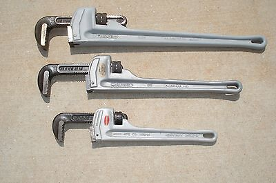 """3-PC. ALUMINUM  PIPE WRENCH SET RIDGID 818"""" 824"""" & REED ARW14  All H.D. X-Nice"""