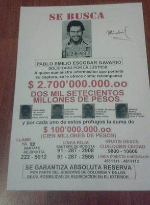 Pablo Escobar Wanted Poster. Signed. Gangster. Drug Lord. Cartel. Crime.