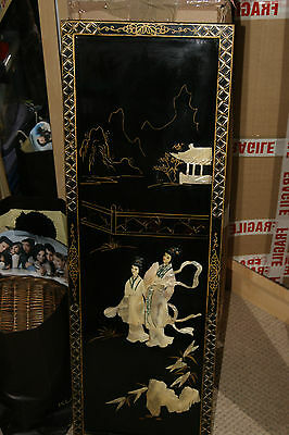 Large Vintage Japanese Black Lacquer Mother Of Pearl Wall Hanging Plaque