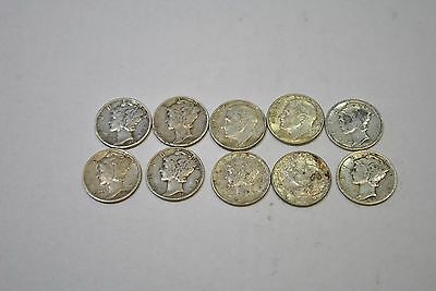 ROOSEVELT DIMES Lot of 10 mixed dates 90% Silver