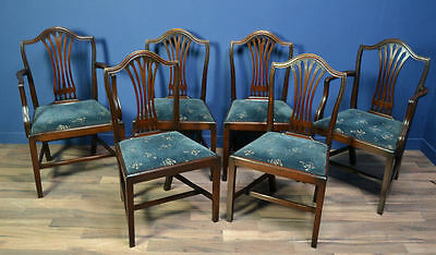 Set Of 6 Antique Mahogany Hepplewhite Style Dining Chairs C.1900