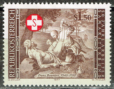 Austria Red Cross Doctor and Wounded Soldier stamp 1977 MLH
