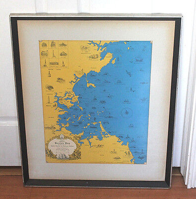 Boston Bay Map Designed Compiled Signed By Edward Rowe Snow Framed 1970
