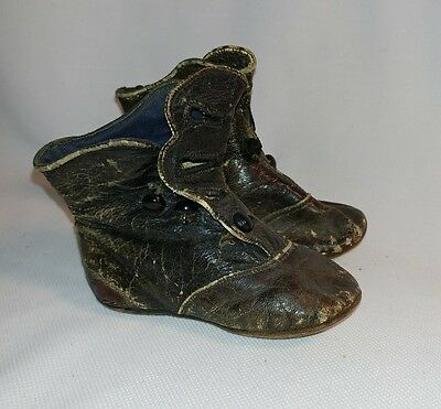 Victorian Black Leather boots side button antique high-top baby shoes walkers