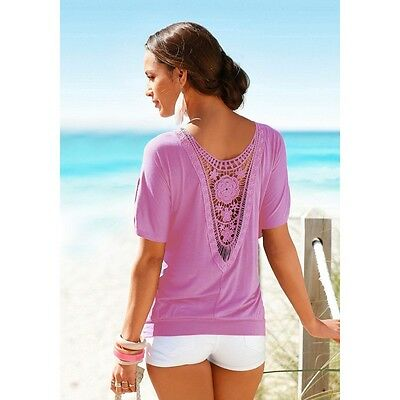 Fashion Lady Women Summer Tank Vest Top Loose T-Shirt Casual Tops Lace Blouse S