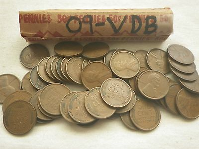 1909 P VDB Lincoln Cent  Roll XF  Great Roll (my opinion). 50 Better Grade Coins