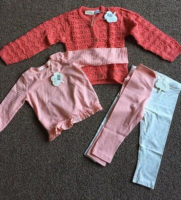 Complete Baby Girls Outfit New Size 6-12 6-9 Months Leggings Top Cardigan Socks