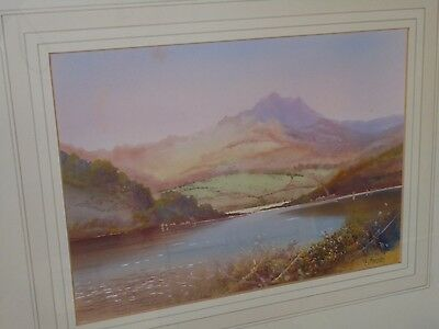 Antique Watercolour Painting By E.j. Maybery. Sailing On A Lake