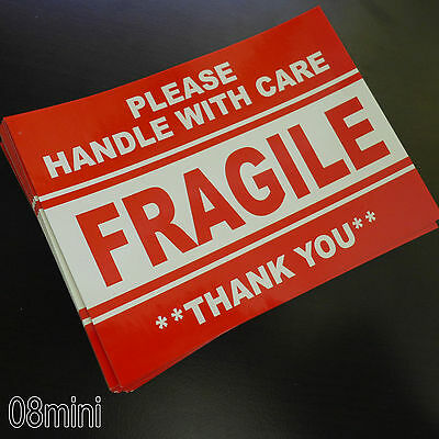 25 pcs 5x4 FRAGILE Handle with Care Warning Label shipping cracked &Peel Sticker