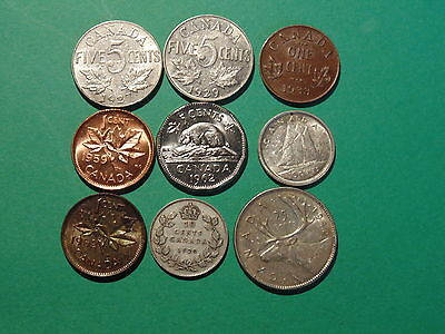 Lot Of 9 Old Coins, All Nice!