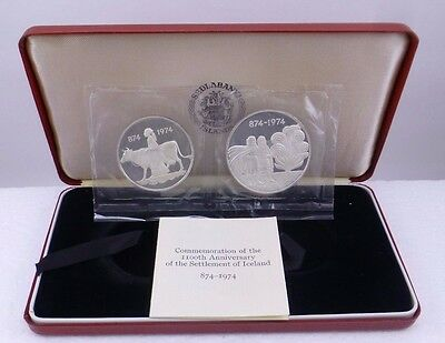 Iceland Commemorative 3-Coin Proof Set 1974 1100th Anniversary of the Settlement