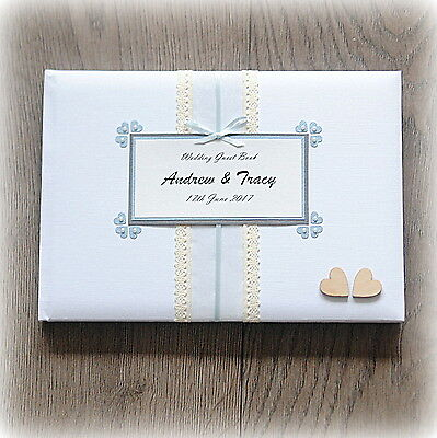 Luxury Personalised Wedding/ Birthday/ Christening Guest Book/ Handmade + Box
