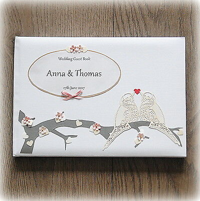 Luxury Personalised Wedding/ Birthday/ Christening Guest Book/ Hand Made + Box