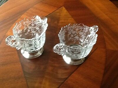 Vintage Cambridge Etched Glass And Sterling Silver Base Creamer And Sugar