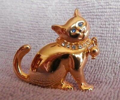 Cat pin - gold tone with blue eyes and rhinestone collar