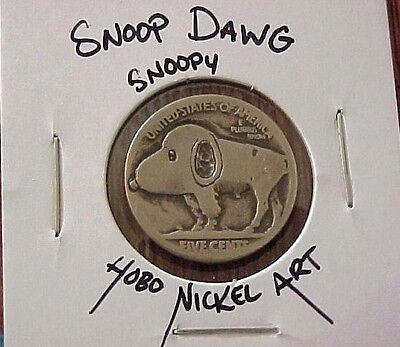 SNOOP DAWG snoopy Dog Puppy Carved Buffalo Hobo Nickel coin ohns 1304