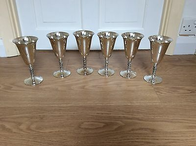 Set Of Six  Falstaff  Spanish Silver Plated Wine Goblets -Fantastic Condition