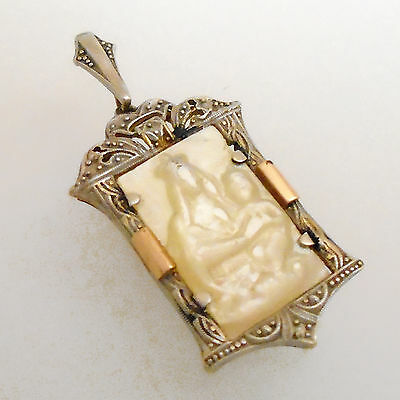 Antique 18k Solid Gold & Mother of Pearl Virgin with Child Medal