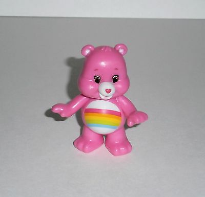 "Care Bears Cheer Bear Rainbow Pink Collectible Miniature 2 1/4"" Mini Figure"
