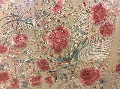 """Antique Chinese Embroidery 45"""" x 42"""" Birds Roses Textile"""