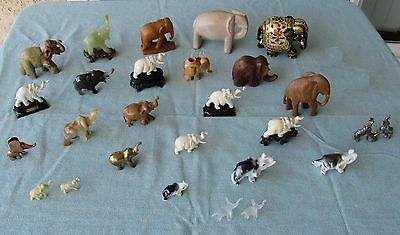 Vintage Elephant Collection Lot ~ Stone Copper Pewter Wood Glass ~ 26 Figurines!