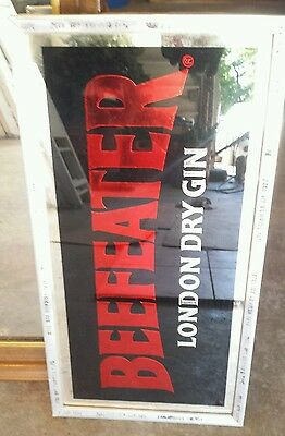 Nice Vintage Beefeater England Distilled Gin Bar Mirror Wall Sign Miller
