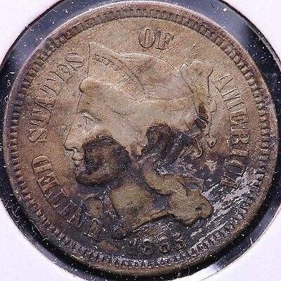 1865 3 Cent Copper Nickel R5AM15