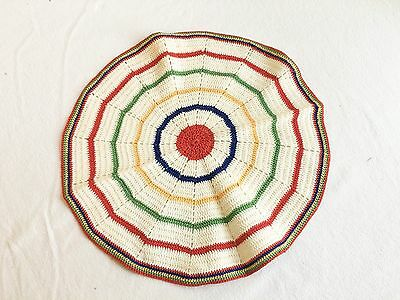 "Vintage 12.5"" Colorful Hand Crocheted Doily doiley doilie doyly doyley Red"