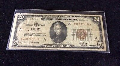 $20 Brown Seal Note From Boston (series 1929)