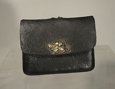 Antique Japanese Leather Netsuke Opium Bag Silver Multi Metal Rats Ojime Bronze