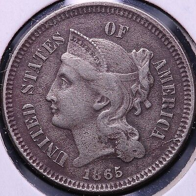 1865 3 Cent Copper Nickel R6AM1