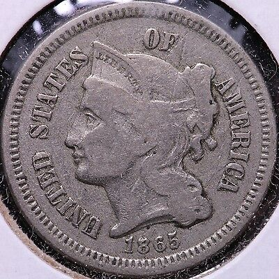 1865 3 Cent Copper Nickel Obverse Doubling R6AM3