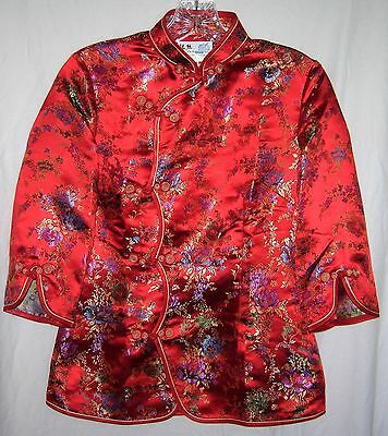 Yin Si Red Satin Floral Embroidered Japanese Chinese Shirt Jacket Coat M New