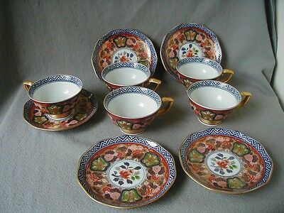 Nice Set Of Five Japanese Finely Painted Cups And Saucers - Signed
