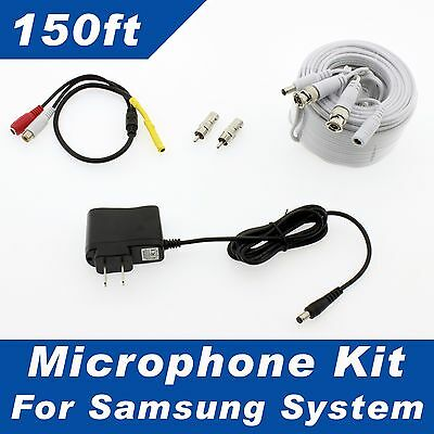 150ft CCTV Microphone for Samsung SDH-C85100BF,  SDR-B85300, SDC-89440BF HD sys