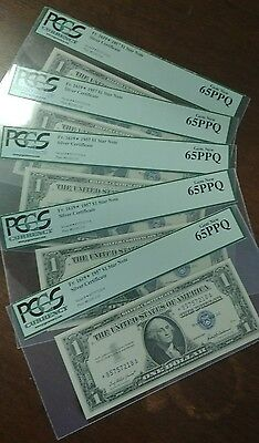 Group of 5 Consecutive Serial # 1957 $1 Star Note Silver Certificates