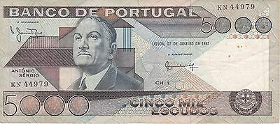 Banknote From Portugal 5000 Escudos Year 1981  Nice And Difficult!!