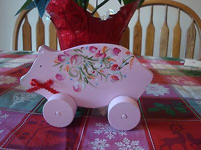Hand Painted Wooden Pink Flowered Pig On Wheels
