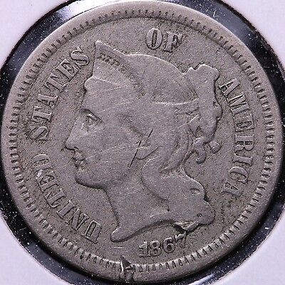 1867 3 Cent Copper Nickel R6AM10