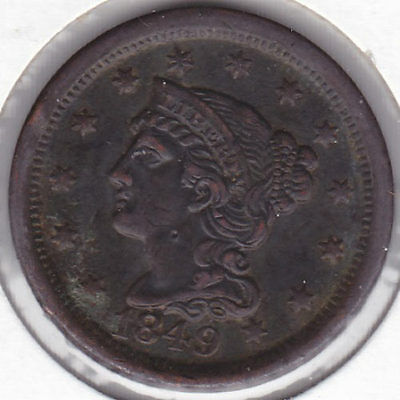 1849 Braided Hair Large Cent-EF-Uncertified