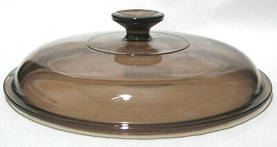 PYREX Corning Ware Glass Replacement Lid 10 1/2 Inch, Round, Brown