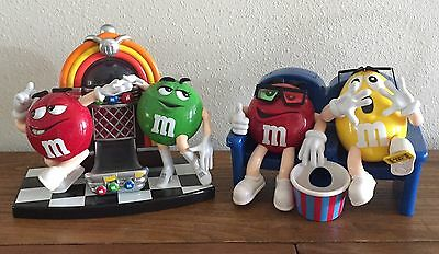 Lot Of 2 M & M's Candy Dispensers - Juke Box And Movie Theatre