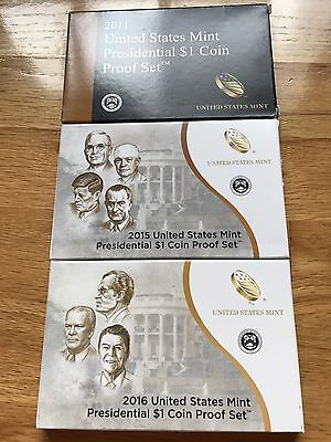 2011 -2015 -2016 S Presidential Dollar Proof Set US Mint W/Box And COA 3 Sets.