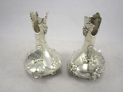 Antique Pair WMF Silver Plate Butterflies Grapes & Leaves Vase Holders