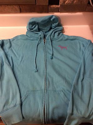 Womens Victoria's Secret PINK Zip Up Hoodie Light Blue Size Small
