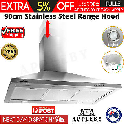 5 Star Chef Range Hood Wall Mount Stainless Steel Kitchen Canopy 90cm 900mm