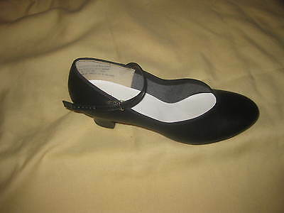 """CAPEZIO THEATRICALS"" women Black leather mary janes tap dance shoes sz8.5m"