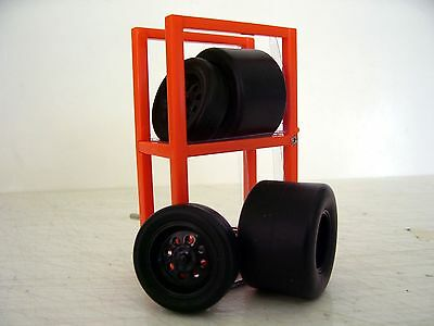 Black Wheels & Tyres 1:24 Scale Front/Rear Rims & Tyres with Axels + Tyre rack