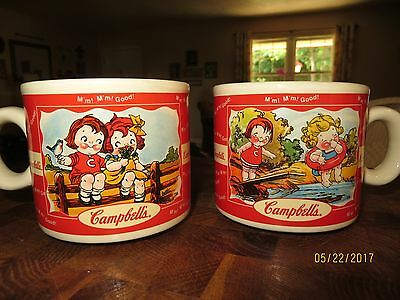 Two Campbells Kids 1998 Collectors Soup Mug Cup Spring Summer 12 Ounces